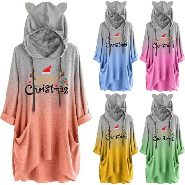 Womens Gradient Christmas Hoodie Ladies Hooded Top Sweatshirts Yellow 2XL