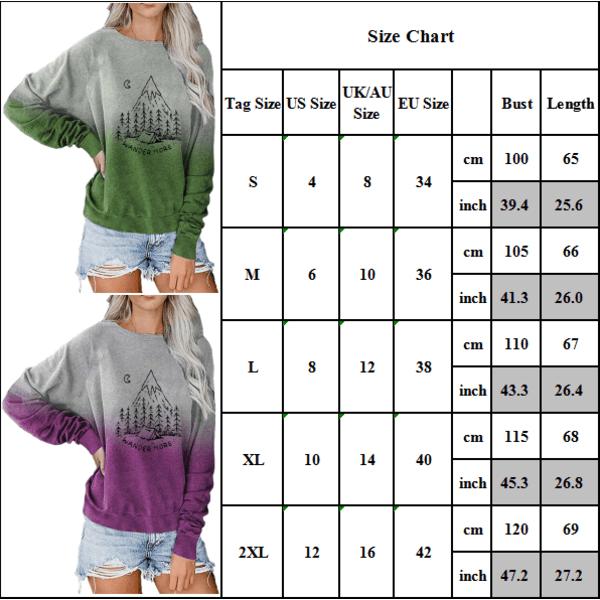 Dam Gradient Christmas Sweatshirt Pullover Top Green L