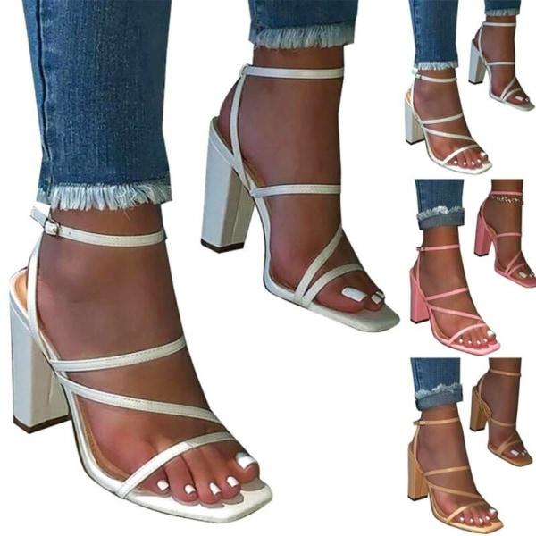 Kvinnors damer block högklackade sandaler sommar fritidsskor Brown 38