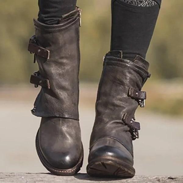 Kvinnor Low Block Heel Ankle Boots Ladies Zipper Booties Shoes Dark Brown 40