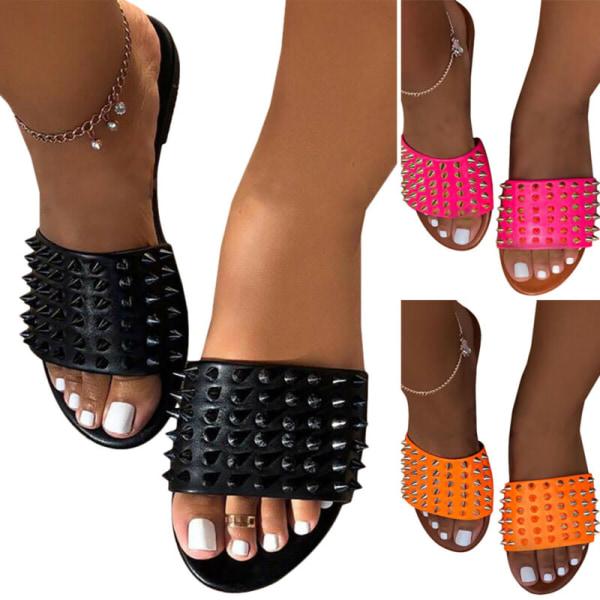 Kvinnors nitar platta sandaler sommar Peep Toe Casual tofflor skor Black 38
