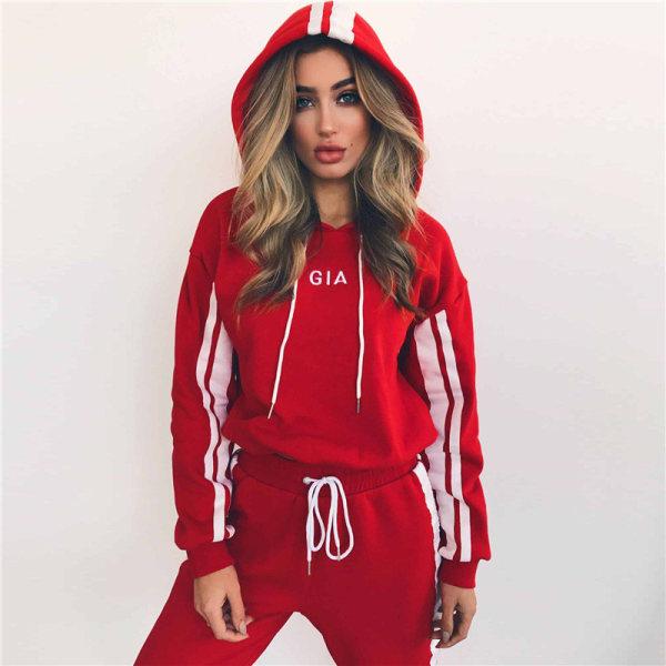 Träningsdräkt Jogging Sportkläder Sweat Suit Lounge Sets Red S