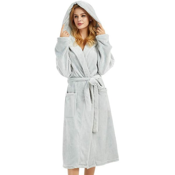 Dam Furry Hooded Badrock Dressing Plysch Lounge Set Grey XL