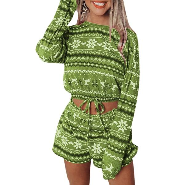 Kvinnors Xmas Christmas Casual Baggy Långärmad Pyjamas Set Green S