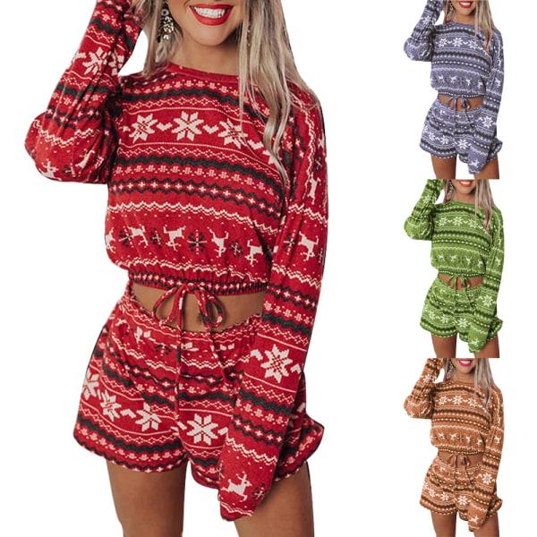 Kvinnors Xmas Christmas Casual Baggy Långärmad Pyjamas Set Grey S