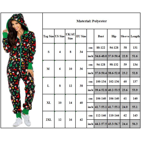 Kvinnors Xmas-jul Långärmad Hooded Jumpsuits Pyjamas Blue 2XL