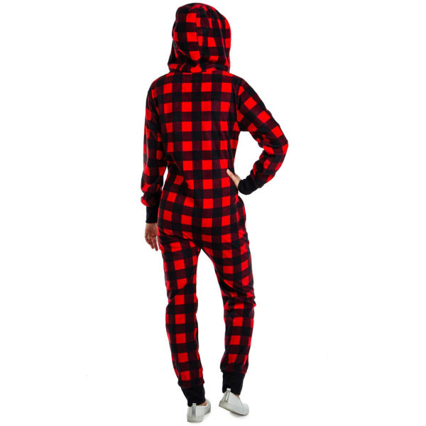 Kvinnors Xmas-jul Långärmad Hooded Jumpsuits Pyjamas Red Lattice S