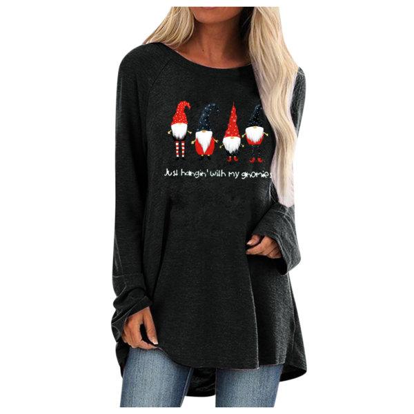 Womens Xmas Christmas Loose Långärmad T-shirtblusar Black 2XL