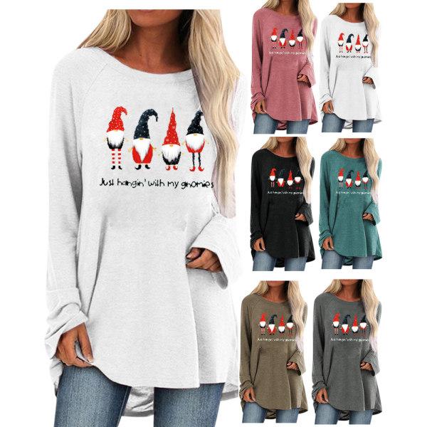 Womens Xmas Christmas Loose Långärmad T-shirtblusar Black S
