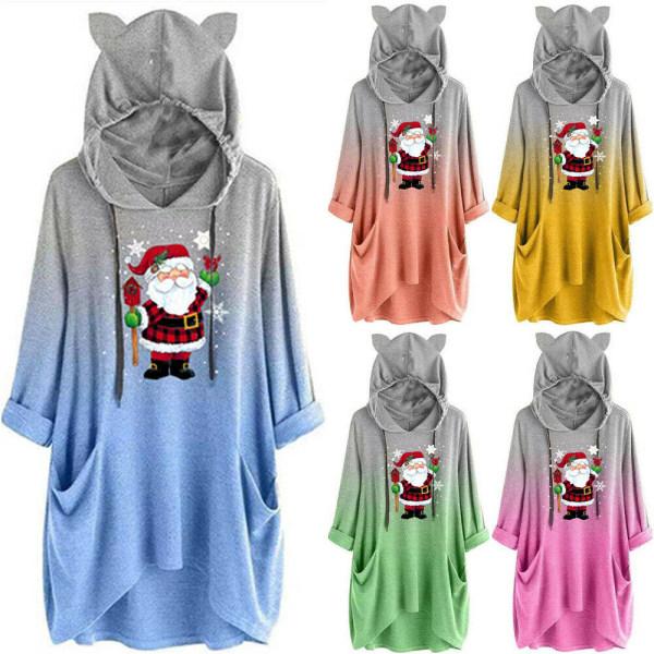 Kvinnors Xmas Christmas Santa Claus Hoodie Pullover Top Orange L