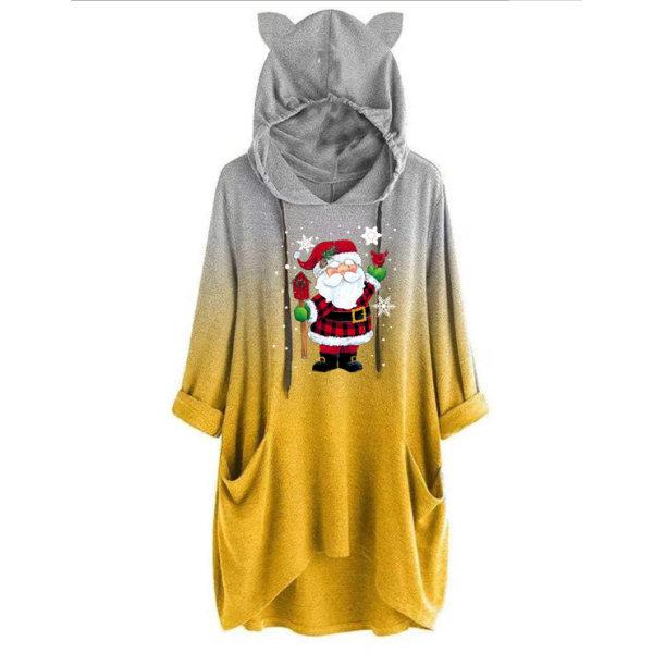 Kvinnors Xmas Christmas Santa Claus Hoodie Pullover Top Yellow L