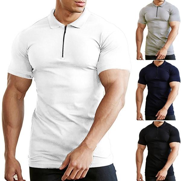 Dragkedja Neck Kortärmad Slim Gym T-shirt Deep Grey XL
