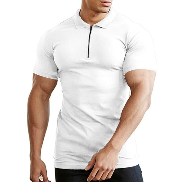 Dragkedja Neck Kortärmad Slim Gym T-shirt White 3XL
