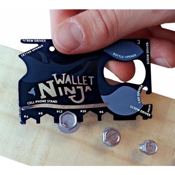 Multiverktyg med 18 funktioner i form av ett kreditkort
