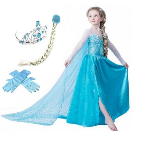 Elsa princess klänning + tiara/fläta/handskar 130 cl