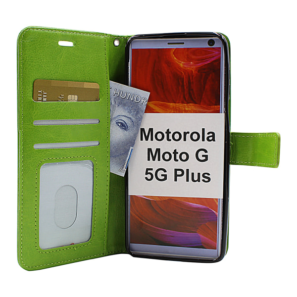 Crazy Horse Wallet Moto G 5G Plus (Svart) Lila