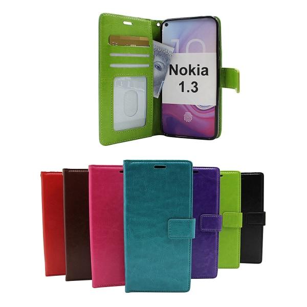 Crazy Horse Wallet Nokia 1.3 (Svart) Hotpink