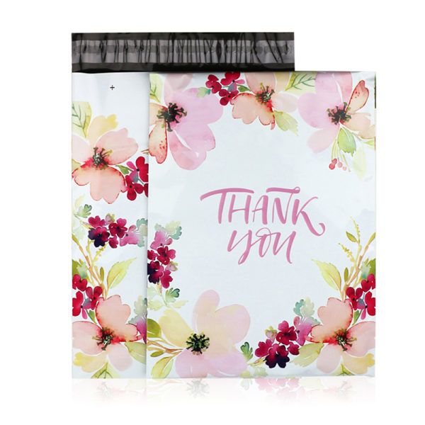 10st 9,8x14,6 '' blomma tack tryckt poly mailer förpackning