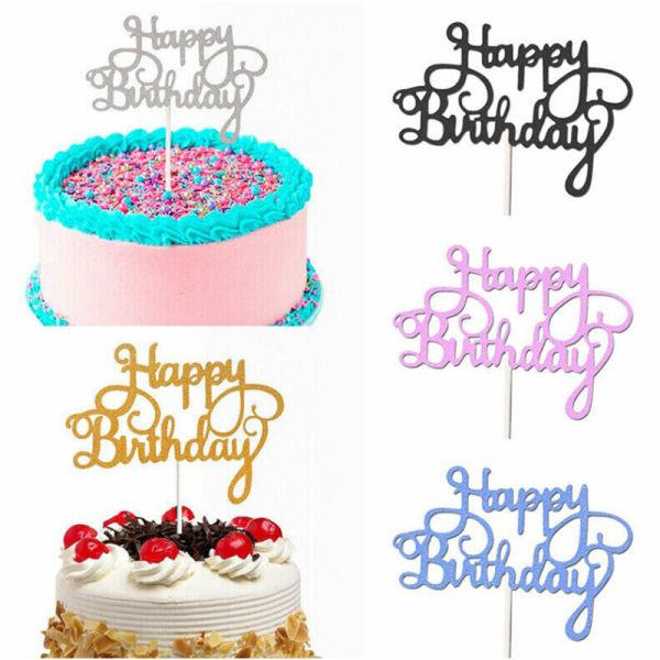 10st Glitter Paper Cake Topper Cupcake Födelsedagsfest Happy Bi