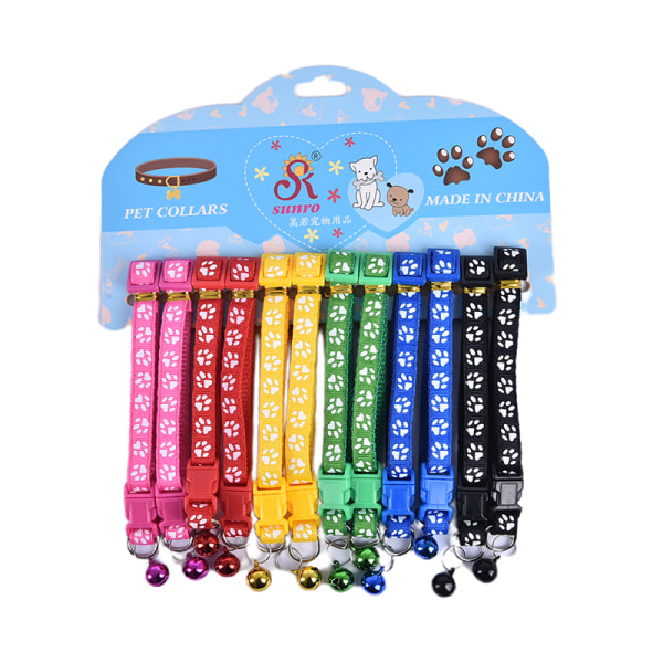 12PCS Dog Collars Pet Cat Puppy Buckle Nylon Collar with Bell 6
