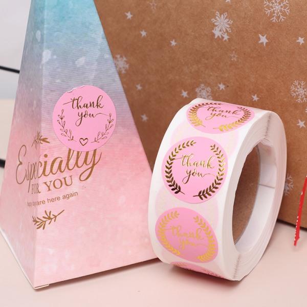 2 rullar rosa etikettpapper tack klistermärke tätningsetiketter gåva dec