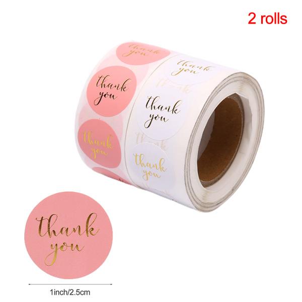 2Roll etikettklistermärke Tack handgjorda klistermärken för klippbok S