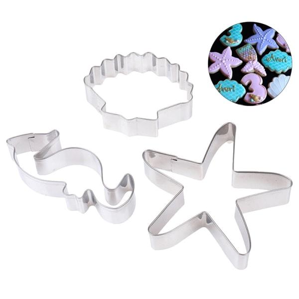3 st sjöstjärna sjöstjärna snäckskal kakformar under havet 3  pcs