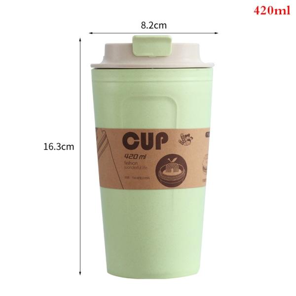 420 ml bärbara kaffemuggar återanvändbara bambufiberkopp vattenkoppar Green