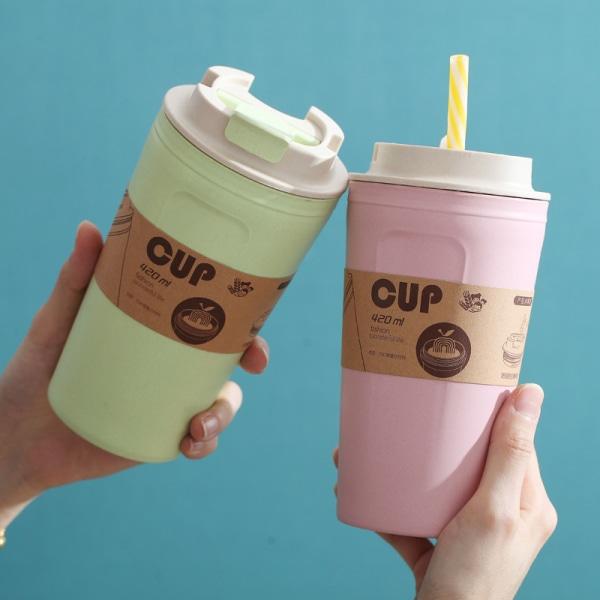 420 ml bärbara kaffemuggar återanvändbara bambufiberkopp vattenkoppar Pink