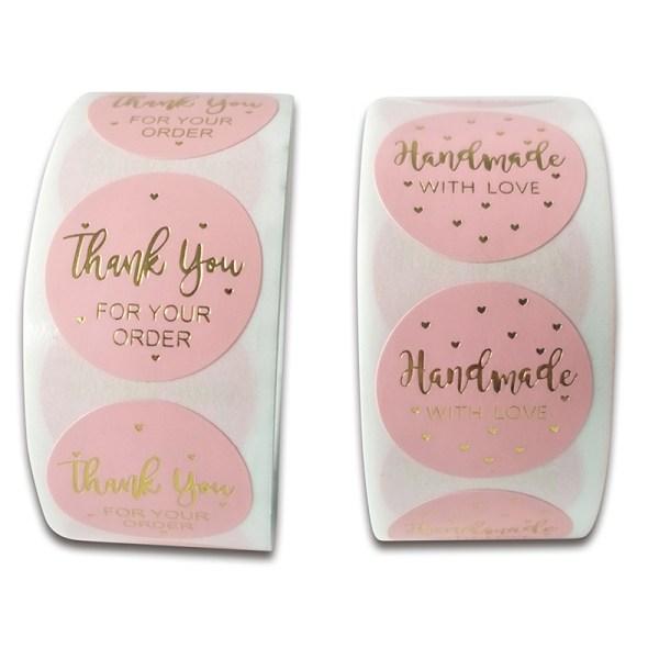 500st rosa tack för din beställning Kraft Kraft Labels Stick