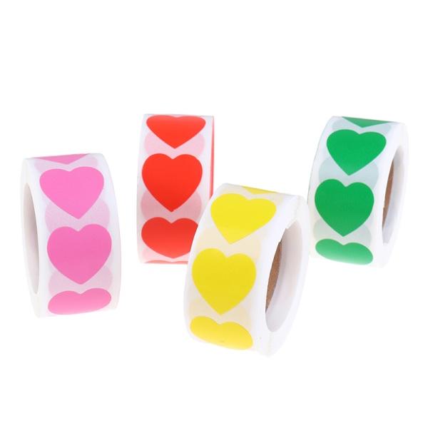 500st / rulle kärlekshjärtformade tätningsetiketter paketetikettklistermärke