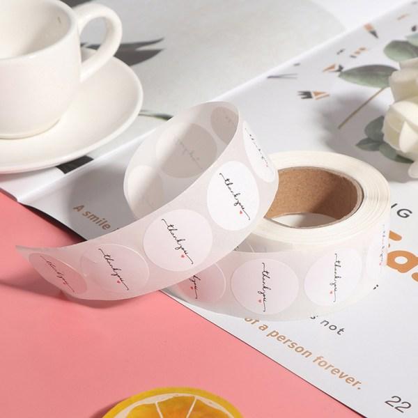 500st / rulle Runda vitt papper etikett klistermärke tack klistermärke