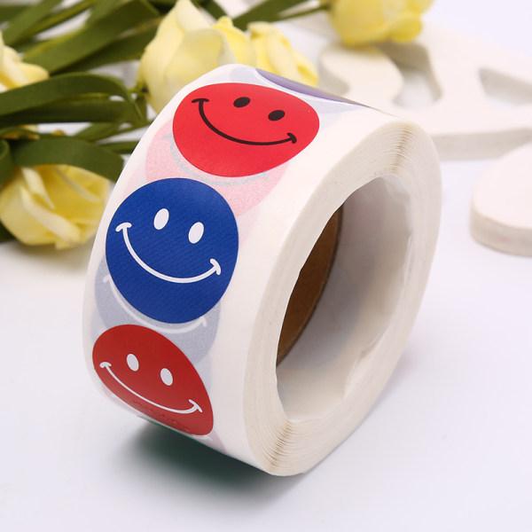 500st / rulle Smile Face Label Stickers Skolbelöning Etikett Deco
