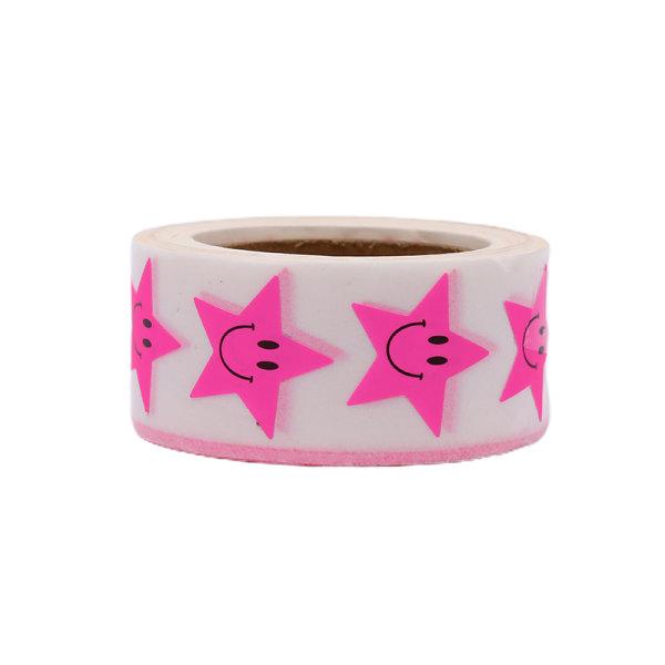 500st / rulle Klistermärke Fluorescerande Smile Star Etikett Klistermärke DIY Ba