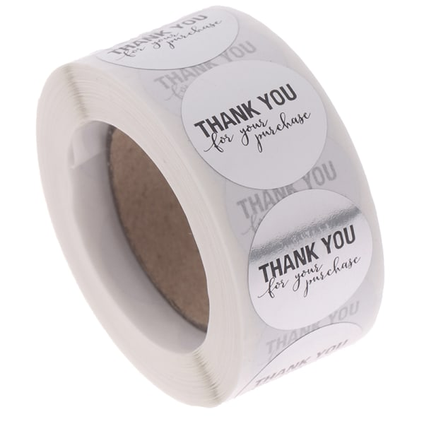 """500st Runt silver """"TACK för ditt köp"""" Seal Sticker"""