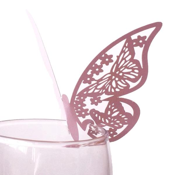 50st ihålig fjärilskopp kort vinglas papper namn plats säte Blue
