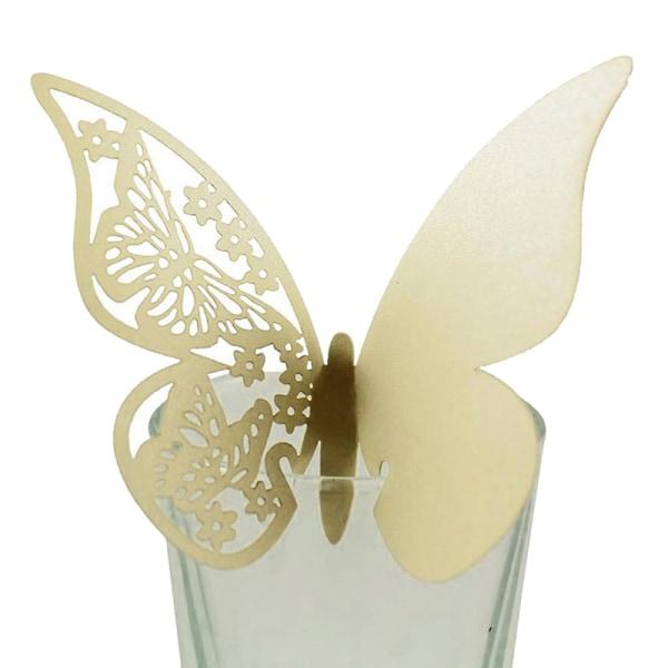 50st ihålig fjärilskopp kort vinglas papper namn plats säte Yellow