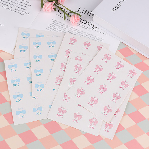 60st Team Boy Team Girl Paper Stickers Tätningsetiketter för kön