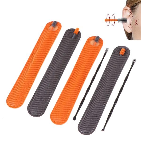 Verktyg för borttagning av öronvax i silikon Öronrengöringspinnar Öronstickare Orange 1