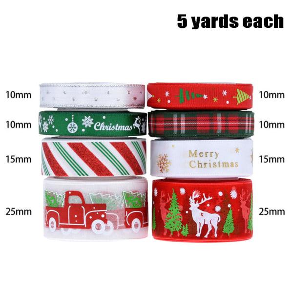 8 st julbandsset Rött grönt guld Silver presentförpackning Multicolor