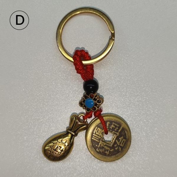 Vintage mässing pengar väska nyckelring hängande handgjorda rep mynt Ca D