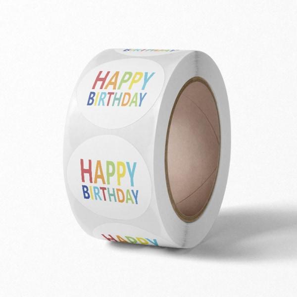 Runda grattis på födelsedagen klistermärken 500st Papper självhäftande etiketter Fest 6