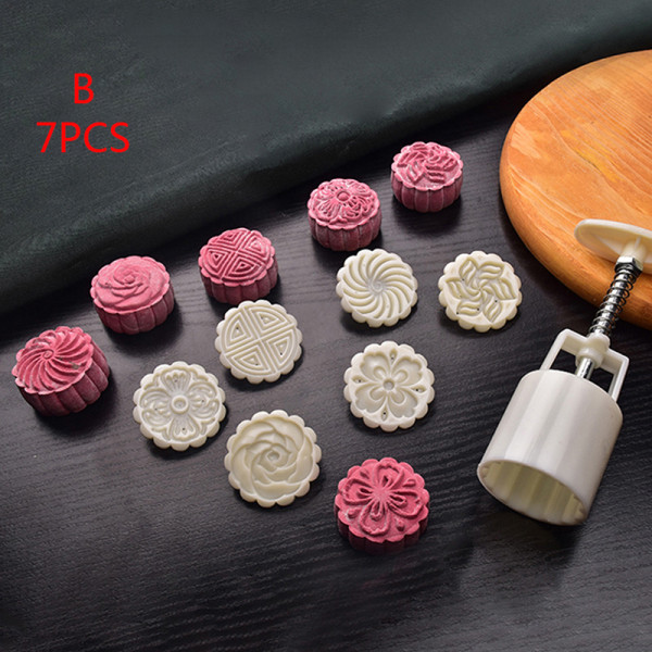 blommformad mooncake mögel 50g kakform mögel hand tryck fondant B