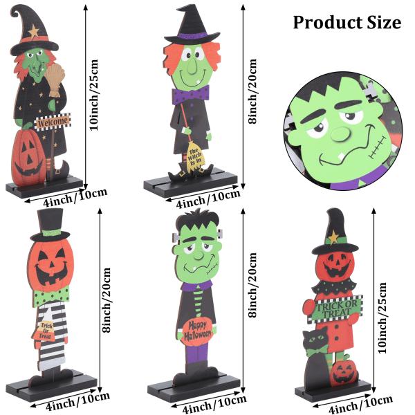 Trä Halloween -skylt, 5 delar Halloween Party Table Decoratio Black