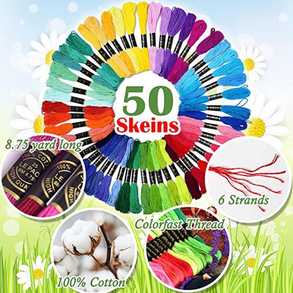 Broderi Floss Rainbow Color 50 strängar per förpackning korsstygn