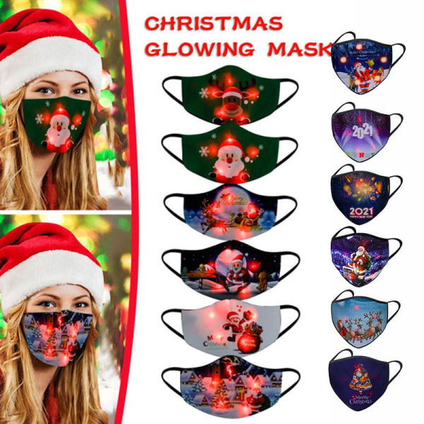 Luminous LED Christmas Mask USB Light Up Mask Xmas Glowing Mask