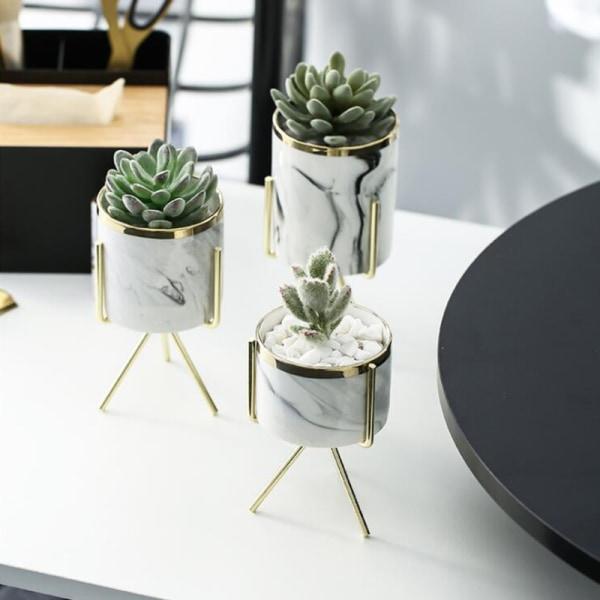 Nordic Ceramic Iron Art Vase Pattern Silver Tableop Flower Pot
