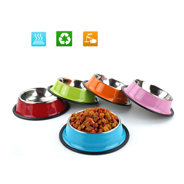 Husdjurstillbehör Rostfritt stål Anti-slip Hundskålar Cat Bowl Puppy