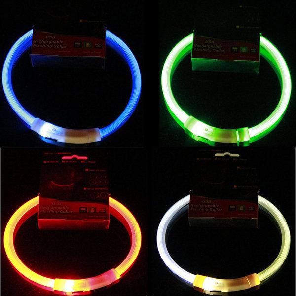 USB LED Uppladdningsbar Hundhalsband Blinkande Ljus Upp Säkerhet Be