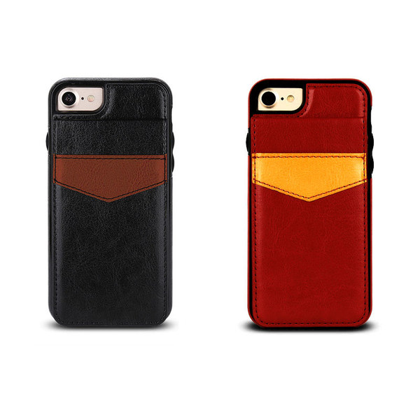 Skal med korthållare för iPhone 7 / 8 / SE Röd
